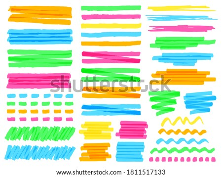 Highlight marker lines. Colorful doodle highlight marker lines, yellow markers stripes, pink line highlight marker sketch vector illustration set. Wavy, curly or dotted green and blue stripes Photo stock ©