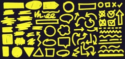 Highlight marker lines on black background. Doodle check marks with tick and cross in box. Curvy and dashed lines and geometric shapes. Arrow in different direction vector illustration