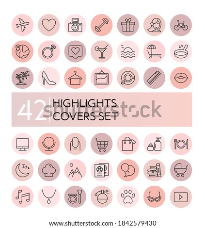 highlight vector illustration icons set. Social media collection of pink flat line covers for female account, blogger stories, lifestyle fashion elements, food and travel Photo stock ©