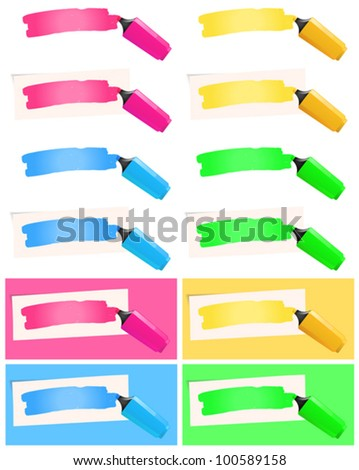 Highlighter And Felt Tip Pen Set/ Illustration of a collection with various fluorescent highlighter pen in yellow, pink,  blue and green