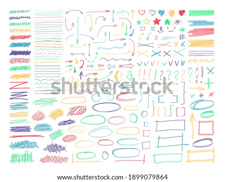 Highlighter marker line, arrow, curve, checkmark and border. Set of sketchy permanent stripe, vignetting and paintbrush, pencil, pen scribble element vector illustration isolated on white background Stockfoto ©