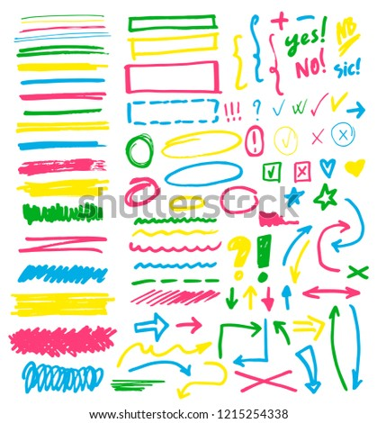 Highlighter markers vector highlighting with hand drawing elements or numbers to select and highlight text illustration set of marked lines and arrows checkmark isolated on white background