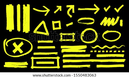 Highlighter marks. Hand drawn yellow highlight marker signs. Vector highlighter strokes arrows rounds isolated on black background Stockfoto ©