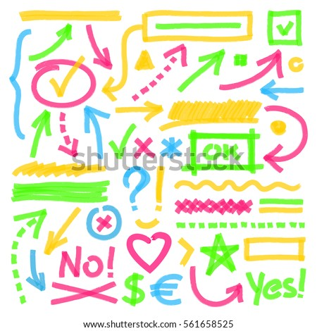Highlighter marks, strokes, arrows and other symbols. Set of marker hand drawn correction or highlighting design elements. Optimized for easy color changes. Vector eps10 illustration with transparency