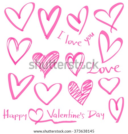 highlighter series, set of hand drawn vector hearts, color can be changed by one click