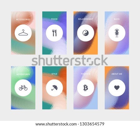 Highlights covers template for promotion product page, account or personality in the social networks. Fluid shapes composition. Futuristic design template. Eps10 vector. #1303654579
