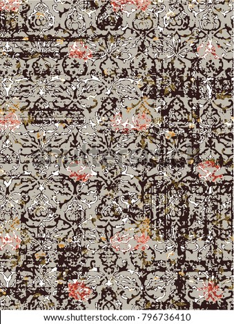 Highly detailed abstract texture or grunge background. For art texture, grunge design, and vintage paper or border frame, modern floral pattern for carpet and rug