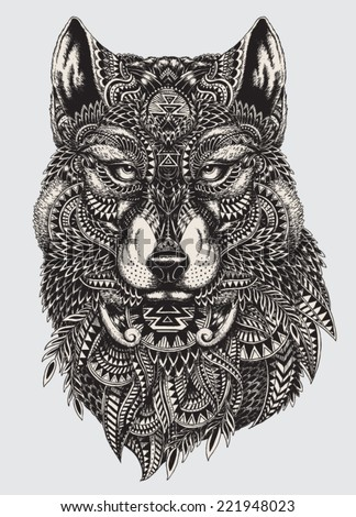 highly detailed abstract wolf