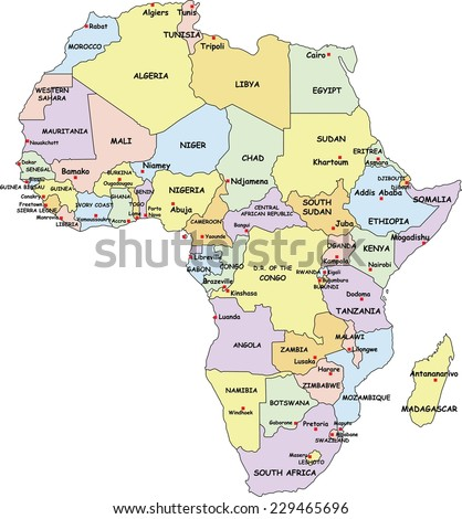 Highly Detailed Africa Political Map With Country And Capitals Name