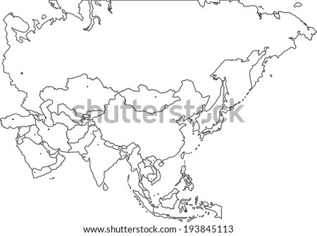Blind Map Of Asia.Vector Images Illustrations And Cliparts Highly Detailed Asia