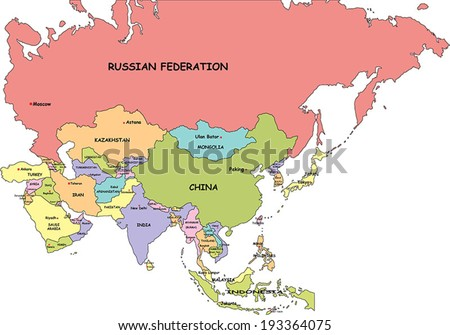 Asia Map With Country Names And Capitals Mexico Map - Political map of asia