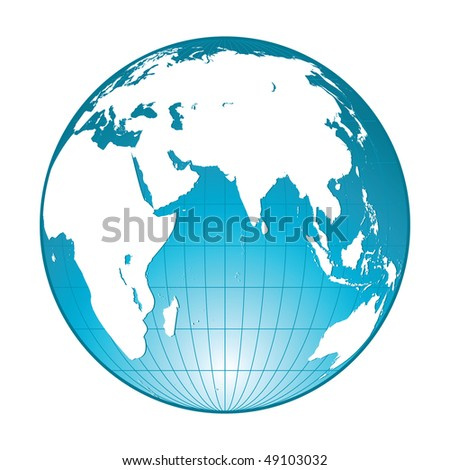 highly detailed blue globe - stock vector