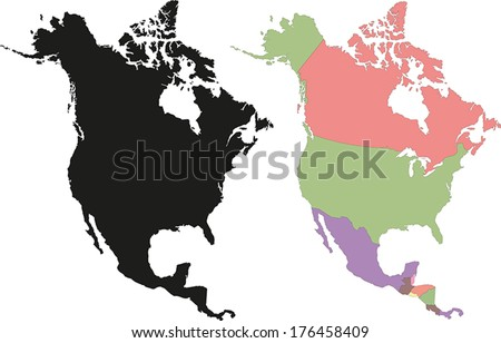 Highly Detailed Continent Silhouette and political map - North America