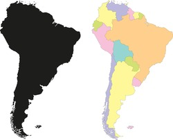Highly Detailed Continent Silhouette and political map - South America