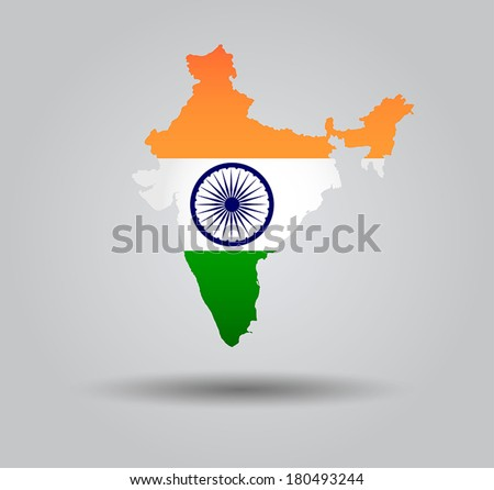 Highly Detailed Country Silhouette With Flag and 3d effect - India