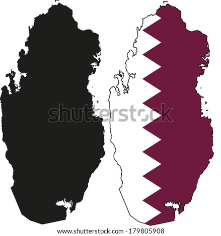 Highly Detailed Country Silhouette With Flag - Qatar