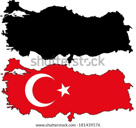 Highly Detailed Country Silhouette With Flag - Turkey