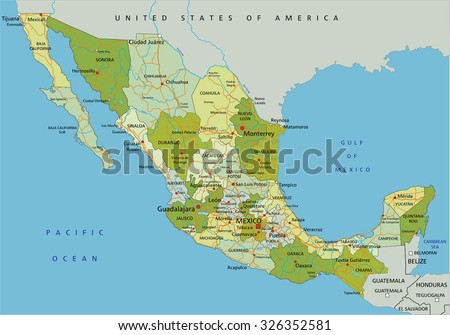 Mexico Map Vector Download Free Vector Art Stock Graphics Images - Mexico political map