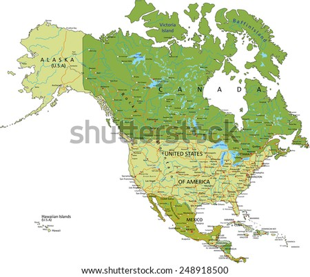 Central America Map With Colored Countries Download Free Vector - Map of us and central america