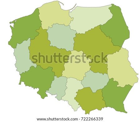Highly detailed editable political map with separated layers. Poland.