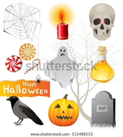Highly detailed Halloween icons set - stock vector