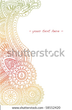 Highly detailed hand drawn henna border in summer colors with room for text. - stock vector
