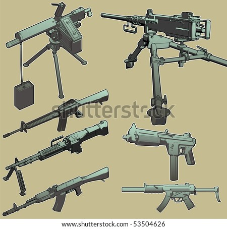 Highly detailed, high-quality vector selection of weapons grade military hardware.