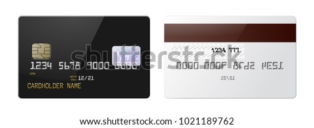 Highly detailed mock up set of realistic black glossy credit card with front and back side . Vector illustration