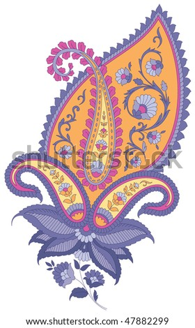 stock vector : Highly detailed paisley floral
