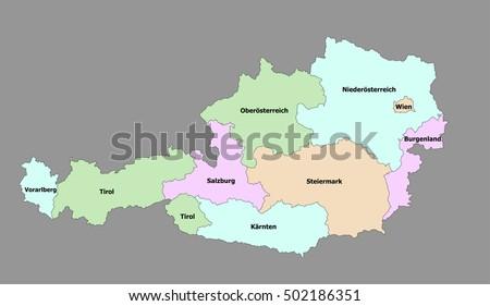 Free Austria Map Vector Download Free Vector Art Stock Graphics - Political map austria