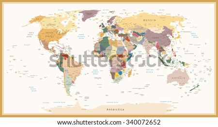 Vintage world map vector download free vector art stock graphics highly detailed political world map vintage colorsl elements are separated in editable layers clearly gumiabroncs Image collections