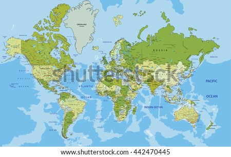 Labeled Globe Map.Vector High Detail World Map Download Free Vector Art Stock
