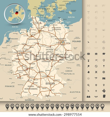 Highly detailed road map of Germany with GPS pin pointers set. Vector illustration contains: land outlines, states and land names,town names,roads(highways) and railroads. #298977554