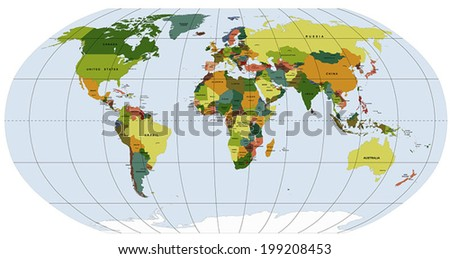 Highly Detailed Robinson projection of the world with labeling vector map