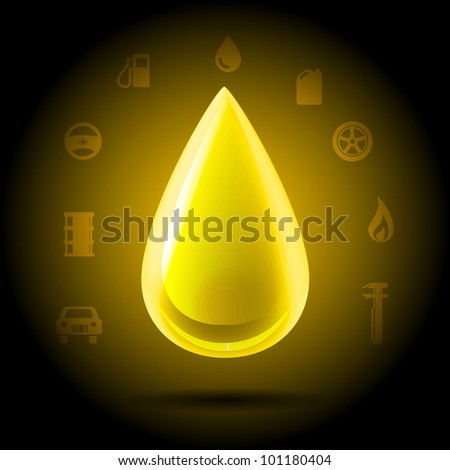 Highly detailed shining yellow golden drop of oil hanging on a dark background automotive symbols