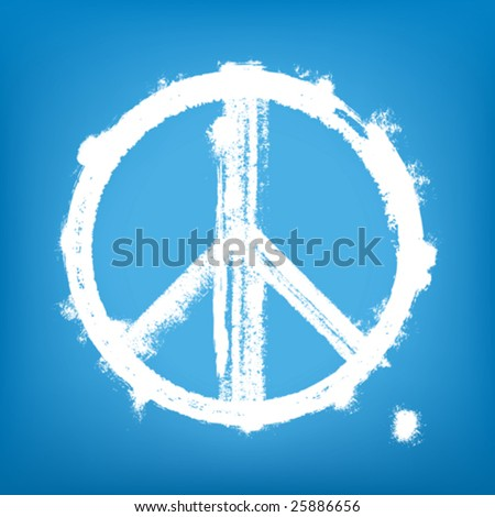 Highly detailed vector illustration of painted peace sign.