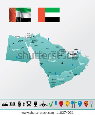 Highly detailed vector map of Middle East with countries, flags, navigation and travel icons EPS 10 file format.