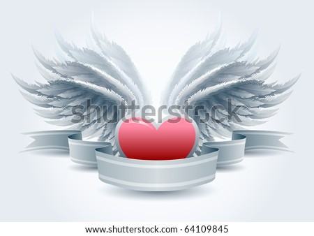 Highly detailed vector wings and heart banner illustration. Elements are layered separately in vector file. Easy editable. - stock vector