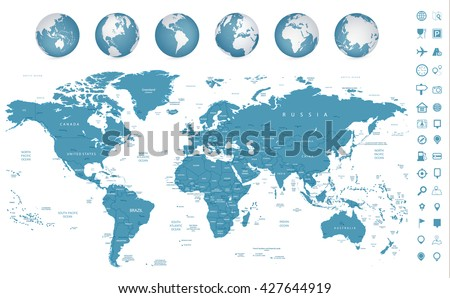 highly detailed world map and