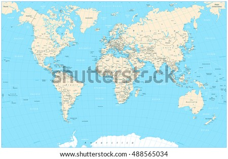 Highly detailed World Map vector illustration. Highly detailed World Map: countries, cities, graticule, water objects names.