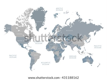 Grayscale vector worldmap download free vector art stock graphics highly detailed world map with labeling grayscale vector illustration gumiabroncs Image collections