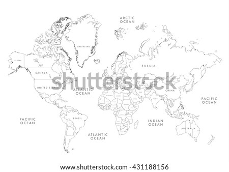 Grayscale vector worldmap download free vector art stock graphics highly detailed world map with labeling linear vector illustration gumiabroncs