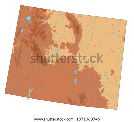 Highly detailed Wyoming physical map. ストックフォト ©