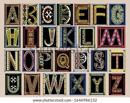 Highly Ornate Gold Illuminated Medieval Vector Font Alphabet Kit Stock fotó ©