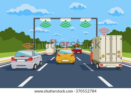 Highway communication system infographics. Vector illustration