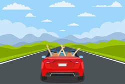 highway drive with beautiful landscape. Travel road car view. Road with car. highway with panoramic views. happy free couple in car driving with arms raised. vector illustration in flat design