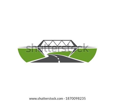 Highway level junction, road bridge icon. Speed freeway, asphalt driveway and motorway crossed by beam bridge vector. Transportation infrastructure element, road trip navigation emblem design element Foto stock ©