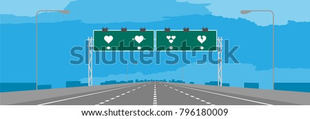 Highway or motorway and green signage with heart symbol valentine concept design in daytime illustrations on blue sky background, with copy space