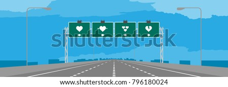 Highway or motorway and green signage with heart symbol valentine concept design in daytime illustrations on blue sky background, with copy space Stock photo ©