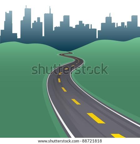 Highway path curves toward city buildings urban skyline